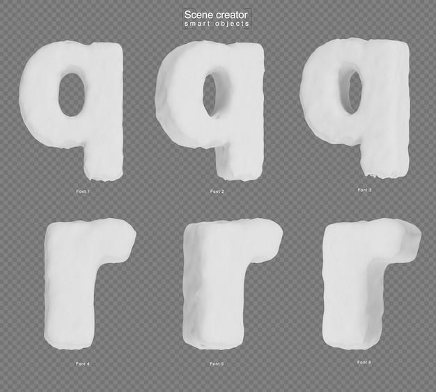 雪のアルファベットqとアルファベットrのレンダリング