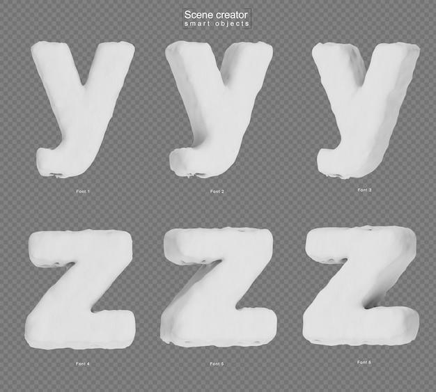 雪のアルファベットyとアルファベットzのレンダリング