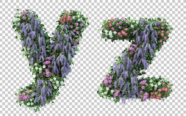分離された垂直フラワーガーデンアルファベットyとアルファベットzのレンダリング