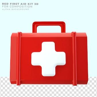 빨간색 응급 처치 상자 3d 렌더링