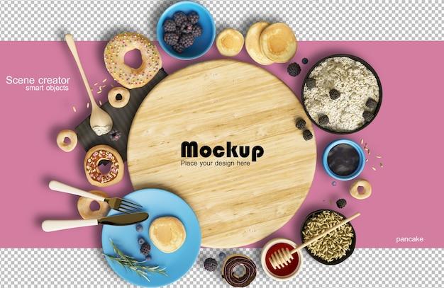 食べ物とお菓子のモックアップのバランスの取れた構成を示すレンダリング
