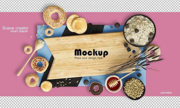 음식과 과자 모형의 균형 잡힌 구성을 보여주는 렌더링