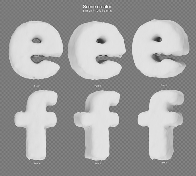Rendering of snow alphabet e and alphabet f
