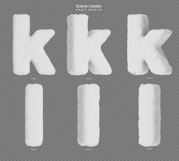Rendering of snow alphabet k and alphabet l