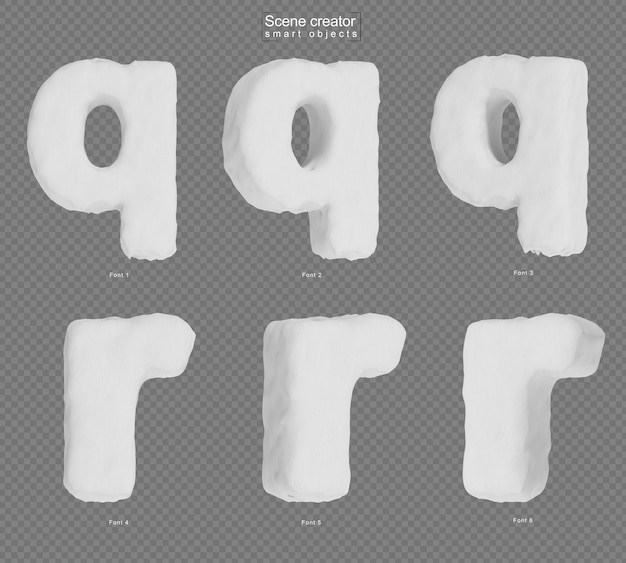 Rendering of snow alphabet q and alphabet r