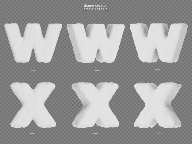 Rendering of snow alphabet w and alphabet x