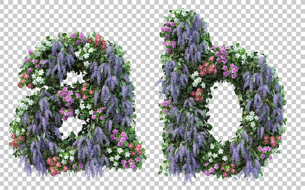 Rendering of vertical flower garden alphabet a and alphabet b isolated