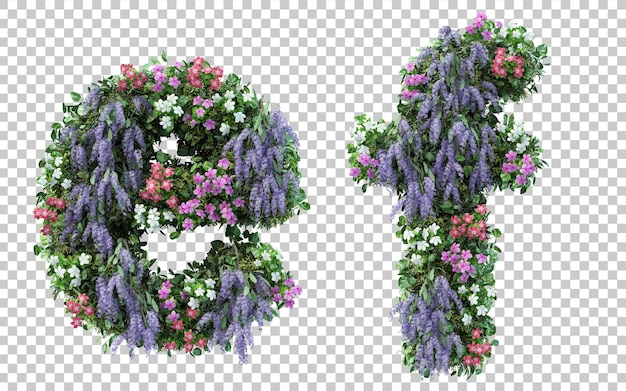 Rendering of vertical flower garden alphabet e and alphabet f isolated