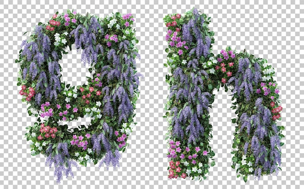 Rendering of vertical flower garden alphabet g and alphabet h isolated