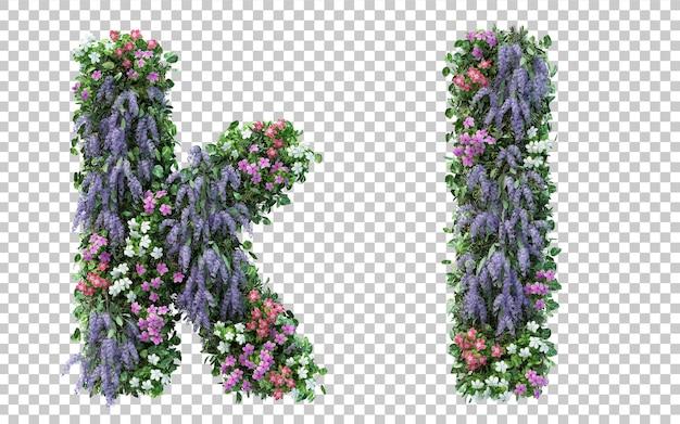 Rendering of vertical flower garden alphabet k and alphabet l isolated