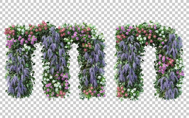 Rendering of vertical flower garden alphabet m and alphabet n isolated