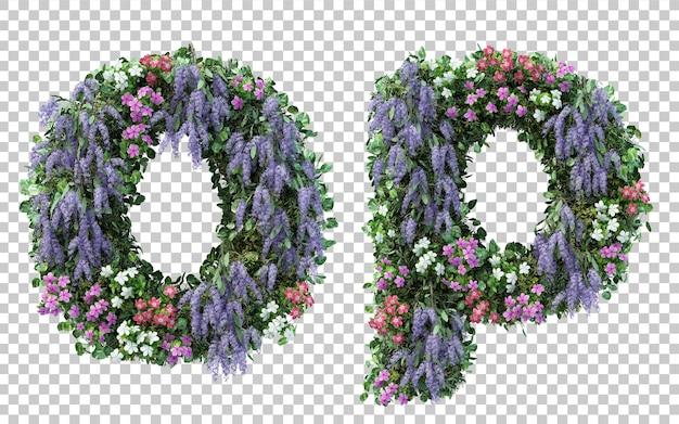 Rendering of vertical flower garden alphabet o and alphabet p isolated
