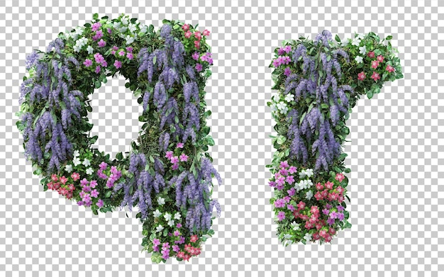 Rendering of vertical flower garden alphabet q and alphabet r isolated