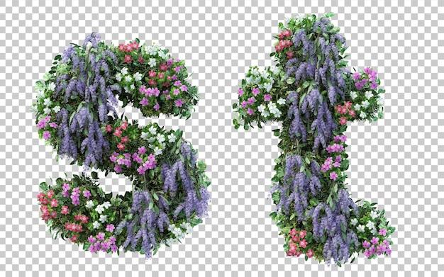 Rendering of vertical flower garden alphabet s and alphabet t isolated