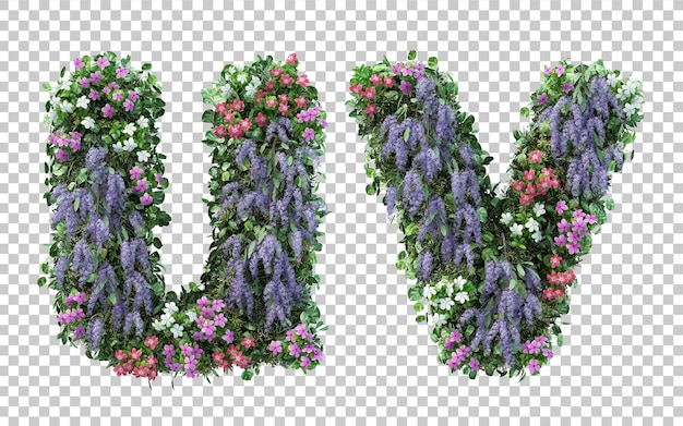 Rendering of vertical flower garden alphabet u and alphabet v isolated