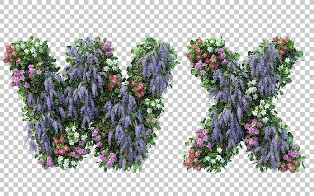 Rendering of vertical flower garden alphabet w and alphabet x isolated