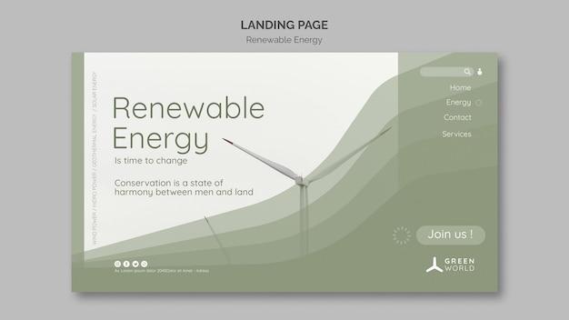 Renewable energy landing page design template