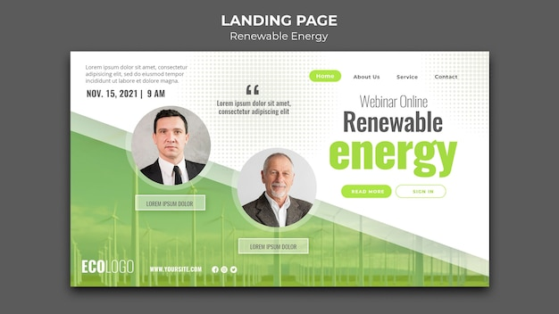 Pagina di destinazione per le energie rinnovabili