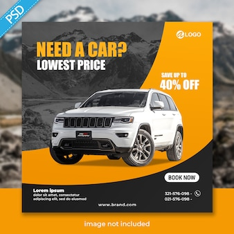 Rent car for social media instagram post banner template premium