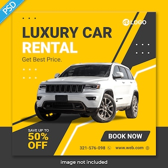 Rent car for social media instagram post banner template premium
