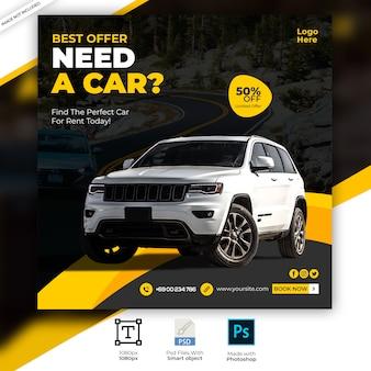 Rent car social media post banner template