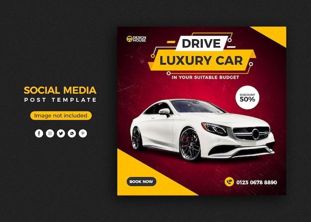 Rent car social media post banner template