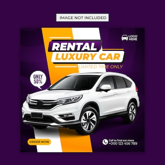 Rent luxury car social media and instagram post template Premium Psd