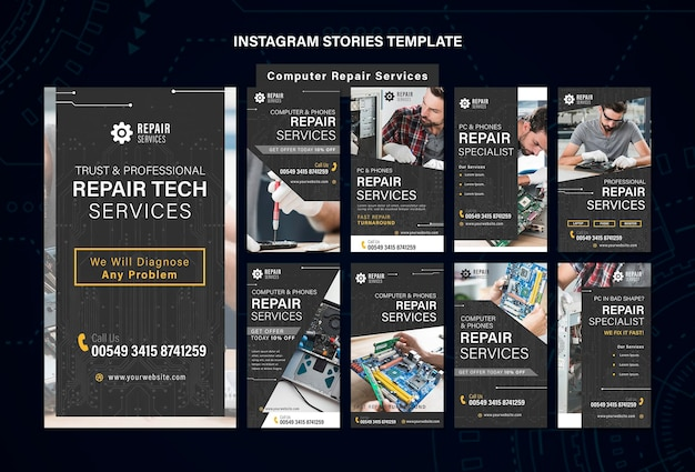 Repair services instagram stories template