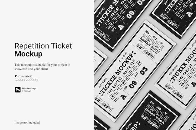 Repetition ticket mockup design isolated