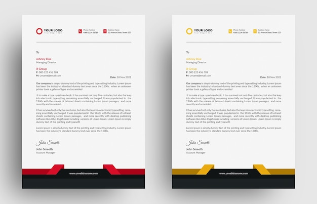 Rer and yellow letterhead template