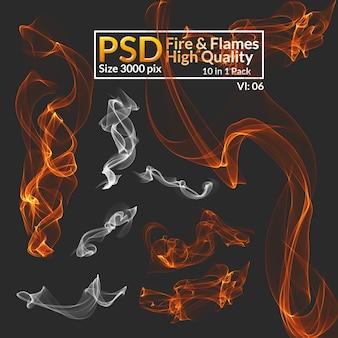 Привет-res изолированные огонь и дым
