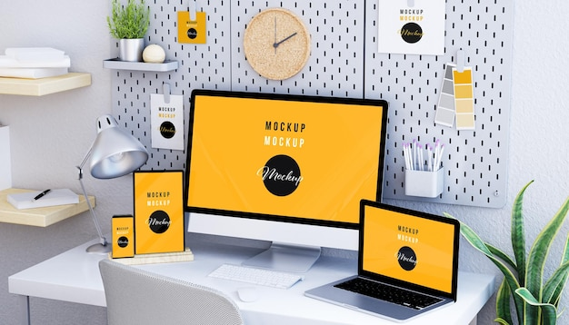 Responsive devices at desktop mockup design