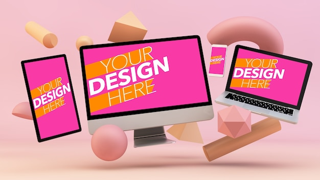 Responsive devices mockup floating with 3d decor