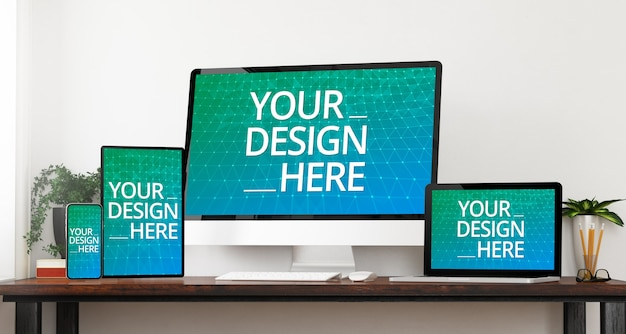 Responsive devices mockup on a office table