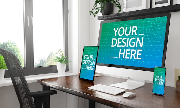 Responsive devices mockup on table