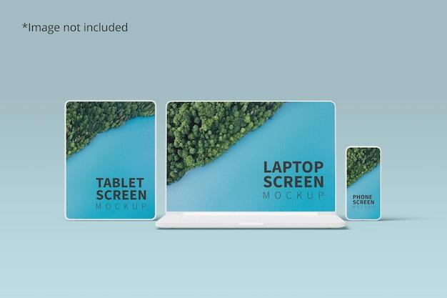 태블릿, 노트북 및 전화를 사용한 반응 형 장치 모형