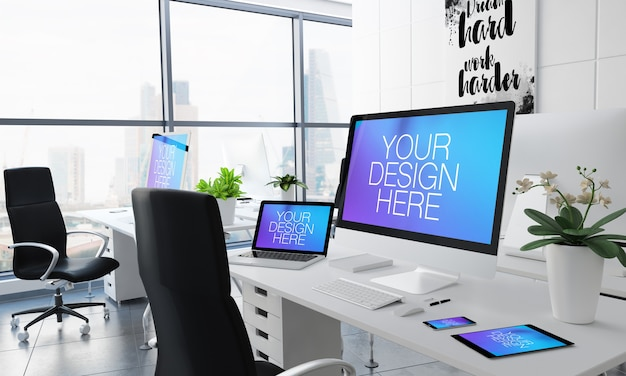 Responsive devices in office mockup