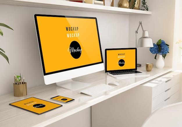 ホームデスクトップの3dレンダリング上のレスポンシブデバイス