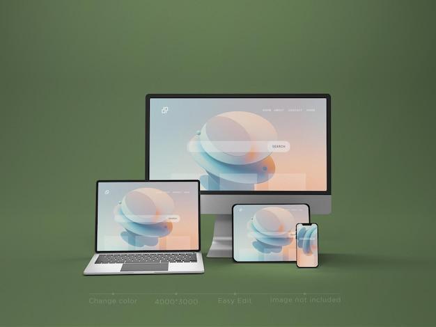 レスポンシブデバイスのウェブサイトのモックアップ3dレンダリング