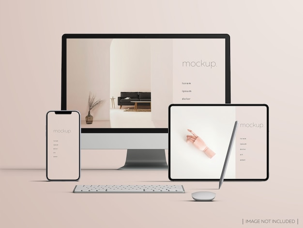 Responsive isolated front view devices screen mockup
