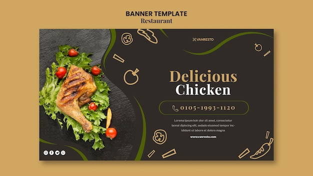 Restaurant ad banner template