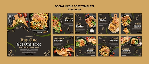 Restaurant ad social media post template