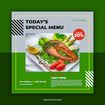 Restaurant banner and food menu social media post template