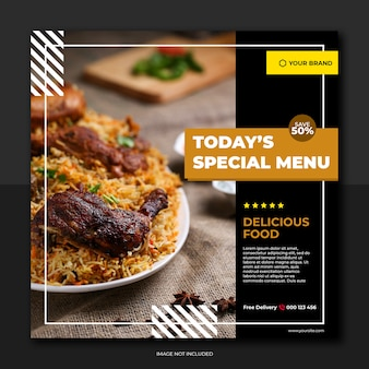 Restaurant banner and food menu social media
