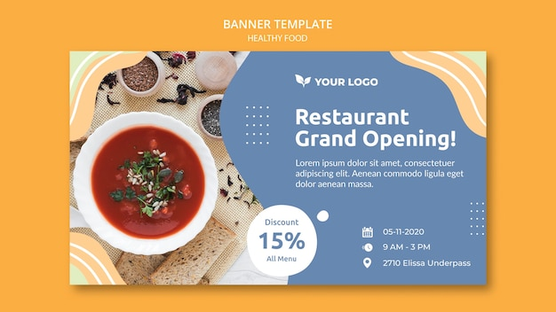 Restaurant banner template concept