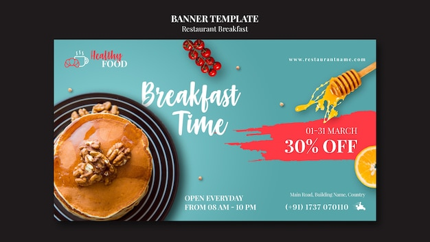 Restaurant banner template with discount