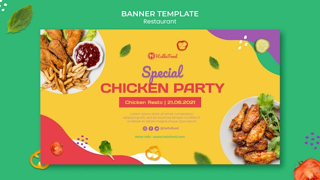 Restaurant banner template with photo