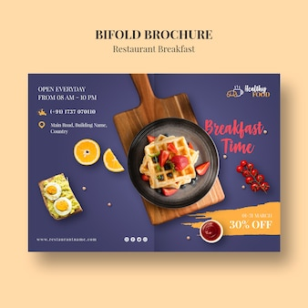 Restaurant brochure template with discount