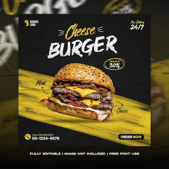 Restaurant burger cheese food social media post banner and instagram feed template menu promo
