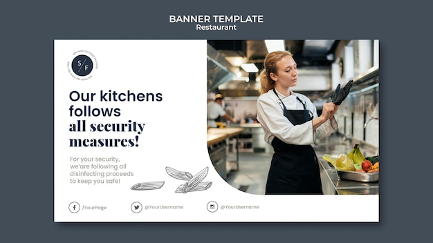 Restaurant business horizontal banner